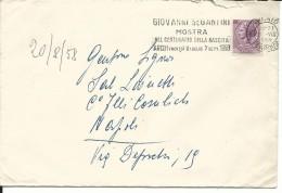 MF172 -MARCOFILIA - ANNULLO SU BUSTA 20.8.1958 - GIOVANNI SEGANTINI MOSTRA NEL CENT. NASCITA - TRENTO - - 1946-60: Marcophilia