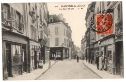CPA 78 - MANTES LA JOLIE (Yvelines) - 136. La Rue Thiers (animée) - C.M. - Mantes La Jolie