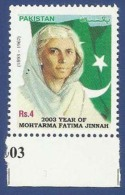 PAKISTAN MNH 2003 YEAR OF FATIMA JINNAH DENTAL DOCTOR FLAGS FAMOUS PERSON - Pakistan