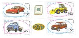 ITALIA 1986 COSTRUZIONI AUTOMOBILISTICHE 3à EMISSIONE BLOCCO DI 4 OTTIMA QUALITA'  COD FRA.564 - 6. 1946-.. Repubblica