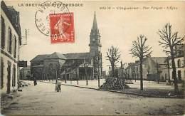 - Morbihan - Ref C504 - Cleguerec - Place Pobeguin - Eglise - Carte Bon Etat -