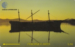 Falkland Islands,  FLK336A, Lady Elizabeth At Sunset, 2 Scans.   336CFKA.