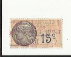 Timbre Fiscal  15 Cts  Obliterè 1935