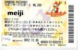 Disney Passeport Entreecard JAPON * TOKYO DISNEYLAND Passport (1306) JAPAN *  PASSPORT * FILM * CINEMA * MEIJI - Disney