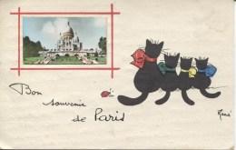 CPA - 4 CHATS - BON SOUVENIR DE PARIS - SIGNEE RENE - Illustrators & Photographers
