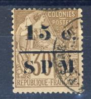 S. Pierre Et Miquelon 1885 - 91 N. 12 C. 15 Su C. 30 Sovrastampato SPM USATO Catalogo € 45 - St.Pierre & Miquelon