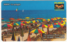 ITALY  - Rimini/La Spiaggia, PLANET Prepaid Card L.10000/5.16 Euro, Tirage 50000, Exp.date 31/12/02, Used - Italië
