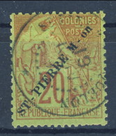S. Pierre Et Miquelon 1891 N. 24 C. 20 Rosso Mattone Su Verde, Sovrastampa Obliqua USATO Catalogo € 120 - St.Pierre & Miquelon