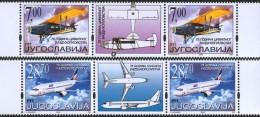Yugoslavia, 2002, 75 Years Of Civil Aviation, Stamp-vignette-stamp, MNH (**) - 1992-2003 Federal Republic Of Yugoslavia