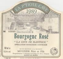 Etiquette Bourgogne Rosé 1989 La Cote De Nantoux Mis En Bouteille Par Mugnier Père Et Fils - Bourgogne