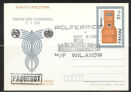 1982 Poland (25-3.82) Polferries M/F Wilanow, Paquebot On Card - 1944-.... Republic