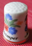 Dé à Coudre - Quimper (29) Motif, Faïence Bretonne, Fleurs - Bordure Dorée, Dessin Sur Porcelaine - Vingerhoeden