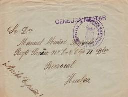 España  - GUERRA CIVIL - BADAJOZ A HUELVA - CENSURA MILITAR - MARCA DEL REGIMIENTO INFANTERIA GRANADA - 1931-50 Brieven