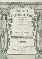 PART DE FONDATEUR  ILLUSTREE- UNION IMMOBILIERE-  1925 - Aandelen