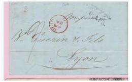 FRANCE -- MARQUE D'ENTREE -- SARDE --ANTIBES -- 1839  -- SUR LETTRE DE NICE POUR LYON -- - Poststempel (Briefe)