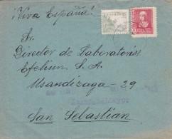 España  - GUERRA CIVIL -  DE CACERES A SAN SEBASTIAN - CENSURA MILITAR DE ZARZA LA MAYOR - RARA - 1931-50 Brieven