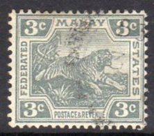 Malaya FMS GV 1922-34 3c Grey Leaping Tiger, Used (SG 56) - Federated Malay States