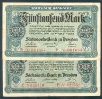 Deutschland, Germany, 2 X Sächsische Bank - 5000 Mark,  ( Ro.: SAX 14 ), 1923 ! - 1918-1933: Weimarer Republik
