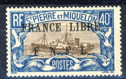 S. Pierre Et Miquelon 1941-42 N. 237 C. 40 Bruno E  Azzurro Sovrastampa Nera France Libre FNFL MLH Catalogo € 25 - Nuovi