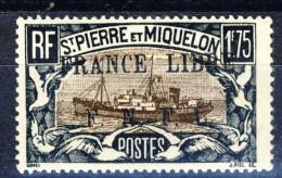 S. Pierre Et Miquelon 1941-42 N. 242 Fr. 1,75 Nero E Bruno Sovrastampa Nera France Libre FNFL MLH Catalogo € 25 - Nuovi