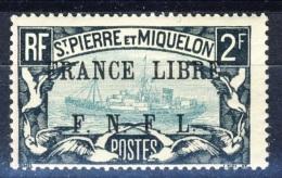 S. Pierre Et Miquelon 1941-42 N. 243 Fr. 2 Nero E Verde-azzurro Sovrastampa Nera France Libre FNFL MLH Catalogo € 30 - Nuovi