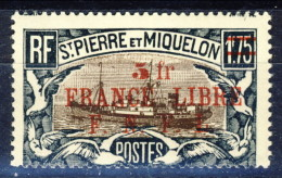 S. Pierre Et Miquelon 1941-42 N. 245 Fr 5 Su 1,75 Nero E Bruno Sovrastampa Rossa France Libre FNFL MLH Catalogo € 30 - Nuovi