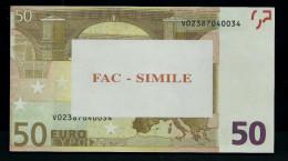 """50 Euro Play Money """"FAC-SIMILE"""" Billet Scolaire, Educativ, Size 140 X 78, RRRRR, UNC, Unkn. Printer - Italien"""