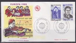 = Europa 1985 Enveloppe 1er Jour Paris 27.4.85 N° 2366 & 2367 Année Européenne De La Musique - 1980-1989