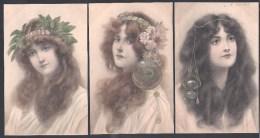 = 3 Très Belles Cartes M.M. VIENNE - Femmes Style Art Nouveau - Sin Clasificación