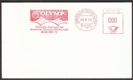 Germany Grossingersheim 26.8.1972. Olympic Games Munich / Olymp, Official Supplier Of German Oly. Team / Machine Stamp - Sommer 1972: München