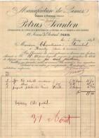 VP3822 - Facture - Manufacture De Limes PETRUS JEANTON à PARIS Avenue De Breteuil - Usine à RAVEAU - 1800 – 1899