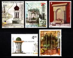 Bosnia And Herzegovina Muslim Gov´t MNH Scott #584-#588 Set Of 5 Fountains: Tuzla, Mostar, Sanski Most, Sarajevo, Bey's - Bosnie-Herzegovine
