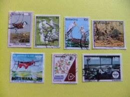 BOTSWANA 1978 - 1994 LOTE De 7 Sellos Diferentes FAUNA AVIONES PAJAROS - Botswana (1966-...)