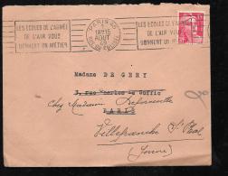 15 Centimes Gandon Sur Lettre Oblitéré Paris 45 Rue Du Colisée - Les écoles De L'armée / De L'air ..... Ah10104 - 1945-54 Marianne De Gandon
