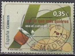 España 2011 Utilisation De Ceinture De Sécurité En Voiture O Cachet Rond - 1931-Aujourd'hui: II. République - ....Juan Carlos I