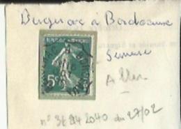 1 Timbre _Tampon Convoyeur -Semeuse 5 Cts _Bergerac-a-Bordeaux -Aller - Poststempel (Einzelmarken)