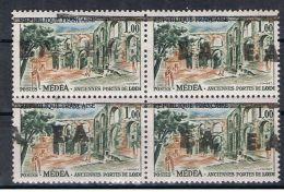 Algérie 1962 - Timbres EA  ,Yvert# 358 - BLoc De 04 , Variété Surcharges Déplacées - Neufs Sans Charnières ** - Algeria (1962-...)