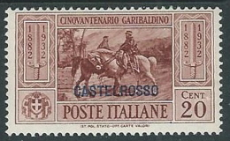 1932 CASTELROSSO GARIBALDI 20 CENT MH * - K122 - Castelrosso