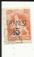 1 Timbre Franco-45 Cts Surchargé 15 -de Posta Fiume - 7. Triest