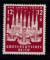 DEUTSCHES REICH, 1943, Hinged Unused Stamp(s), Luebeck, MI 862, #16185 , - Germany