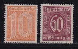 DEUTSCHES REICH, 1921, Hinged (no Glue) Unused Stamp(s), Dienstmarken MI D65-D66, #16219 , - Germany