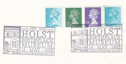 1985 Cheltenham GB Stamps COVER EVENT Pmk Music Illus HOLST MUSEUM  Pmk - Music
