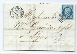 1928 - Lettre 1861 Villefranche Sur Saone 69 Pc 3611 Pour Lyon Guérin Et Fils Napoléon 14 SALANDRIN TEILLARD - 1849-1876: Période Classique