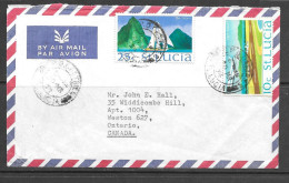 St. Lucia Sailboat Airplane Stamps To Ontarion Canada - St.Lucia (1979-...)