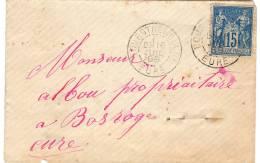 BOURGTHEROULDE Eure Cachet A2 1888 Sage 15c Bleu N°90 IIC Etat 2 - Marcofilie (Brieven)