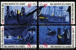 USA 1973 British Merchantman Boston Tea Party Stamps Sc#1480-83 Harbor Ship Tax History - Drinks