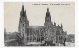 BAYEUX - N° 52- ENSEMBLE DE LA CATHEDRALE VUE DE L' EVECHE - CPA NON VOYAGEE - Bayeux
