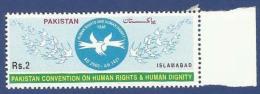 PAKISTAN 2000 MNH CONVENTION OF HUMAN RIGHTS & DIGNITY, EMBLEM, DOVE, BIRD, BIRDS - Pakistan