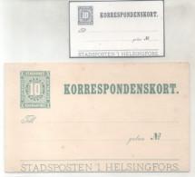KORRESPONDENSKORT STADSPOST HELSINGFORS HELSINKI YEAR 1890 UNUSED RARE FINLANDE FINLANDIA FINLAND - Finlandia