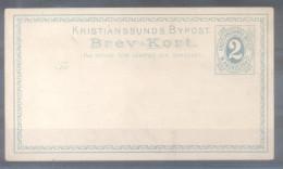 KRISTIANSSUNDS BYPOST BREV-KORT M. ANDRESEN & CO. 2 ORE VERDE EMPETROLADO CLARO NORUEGA NORWAY NORVEGE RARISIME YEAR 187 - Postal Stationery
